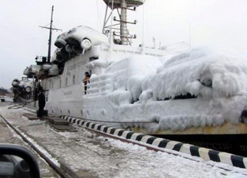 Frozen Cars On Boat