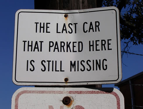 Last car parked here missing sign