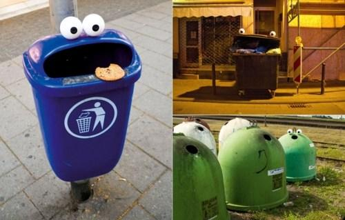 Funny garbage bins with eyes