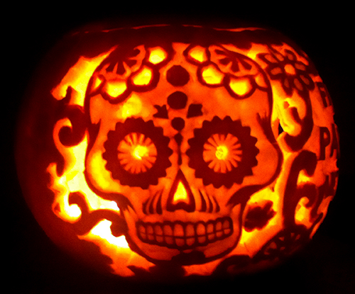 Creepy carved pumpkin skull