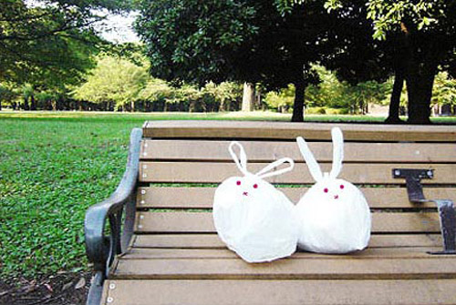 wastebin bag bunny faces